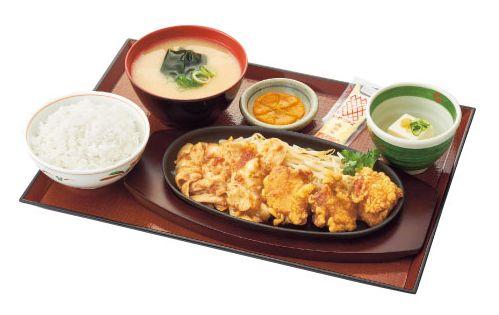 唐揚げ&豚生姜焼き定食