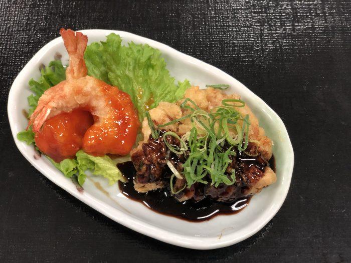 海老チリ&黒酢鶏天
