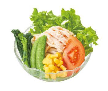 春野菜と蒸し鶏のサラダ